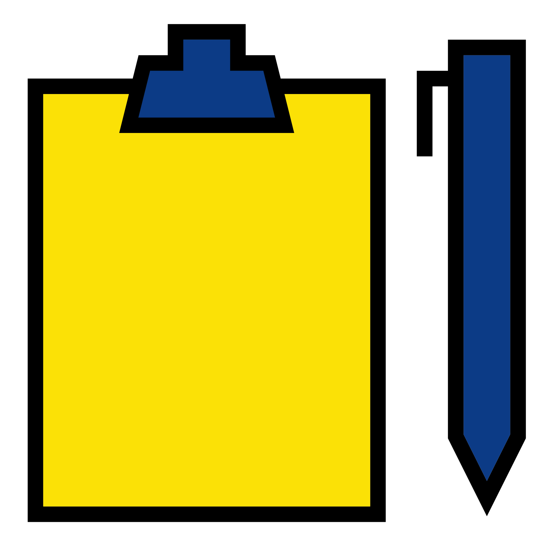 blue and yellow graphic of a clipboard and pen