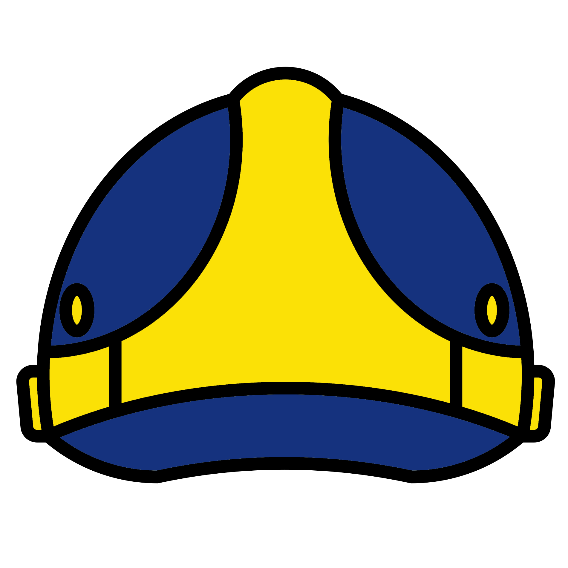 Blue and Yellow graphic of a saftey helmet