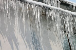 ice cycles forming on poorly insulated roof