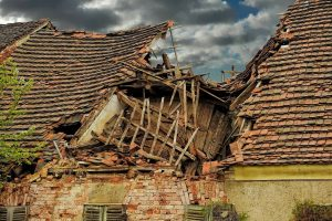 badly damaged roof