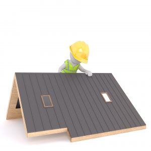 animated charactor with saftey gear mocking up a rendered roof design
