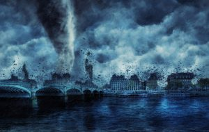 concept art showing a tornado destroying the roof on many structures.