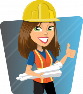 cartoon female construction working giving a thumbs up